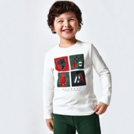 Koszulka z długim rękawem dla chłopców Mayoral 4048-21 Śmietankowa