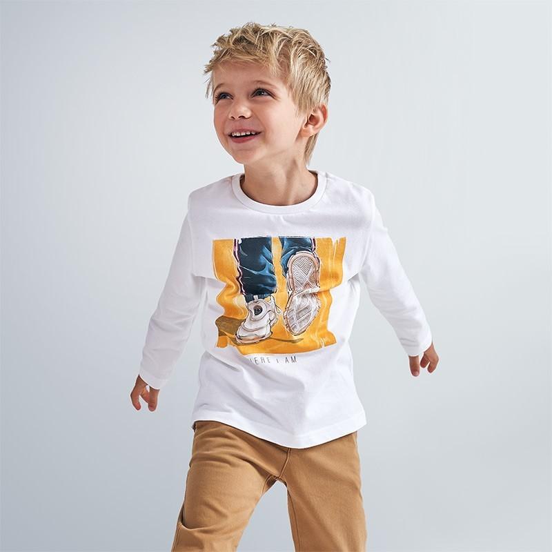 Koszulka z długim rękawem dla chłopców Mayoral 4057-31 Kremowy