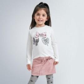 Koszulka z ozdobną aplikacją dla dziewczynek Mayoral 4068-30 krem