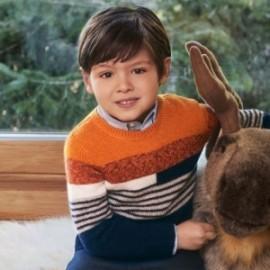 Sweter w paski chłopiec Mayoral 4328-66 pomarańczowy/granat