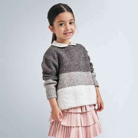Sweter w paski dla dziewczynki Mayoral 4348-29 Ołowiany