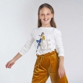 Koszulka z długim rękawkiem dziewczęca Mayoral 7068-30 krem