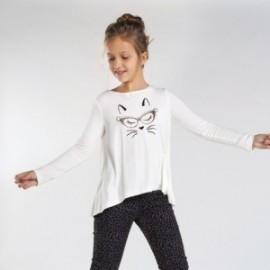 Koszulka z długim rękawkiem dziewczęca Mayoral 7072-80 krem