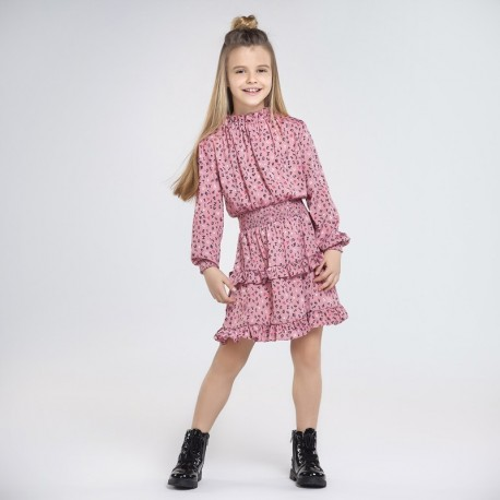 Sukienka satynowa dla dziewczynki Mayoral 7966-32 Różowy