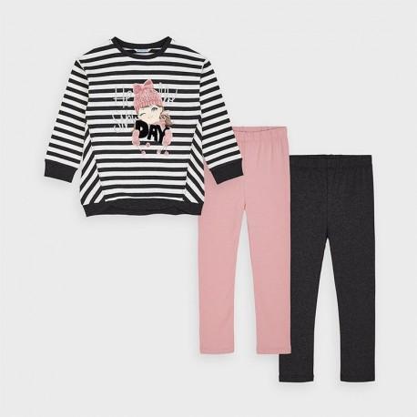 Komplet leginsy 2 szt. i bluza dla dziewczynki Mayoral 4729-51 szary