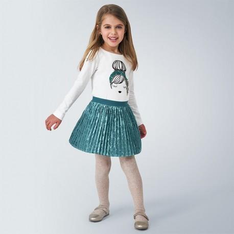 Spódnica aksamitna plisowana dziewczęca Mayoral 4955-64 zielona