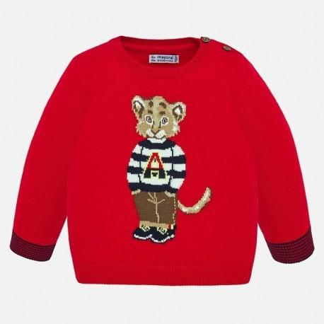 Sweter z nadrukiem dla chłopców Mayoral 1323-10 czerwony