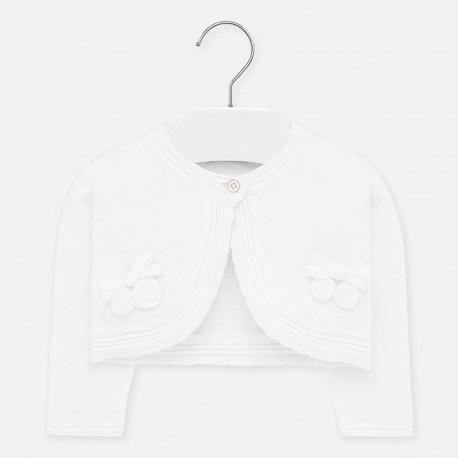 Sweterek dzianinowy dla dziewczynek Mayoral 1326-33 Biały