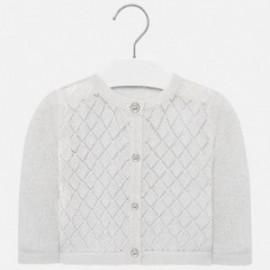 Sweterek ażurkowy dla dziewczynek Mayoral 1328-27 Srebny