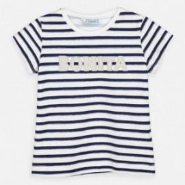Koszulka bawełniana w paski dla dziewczynek Mayoral 3011-86 granatowa