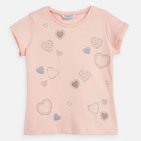 Koszulka z krótkim rękawem dziewczęca Mayoral 3012-64 różowa
