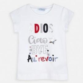 Koszulka bawełniana dla dziewczynki Mayoral 3018-52 Biała