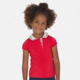 Polo bawełniane z kołnierzykiem dla dziewczynki Mayoral 3178-48 Czerwone