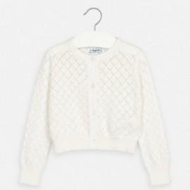Sweter dzianinowy dla dziewczynki Mayoral 3321-84 Biały