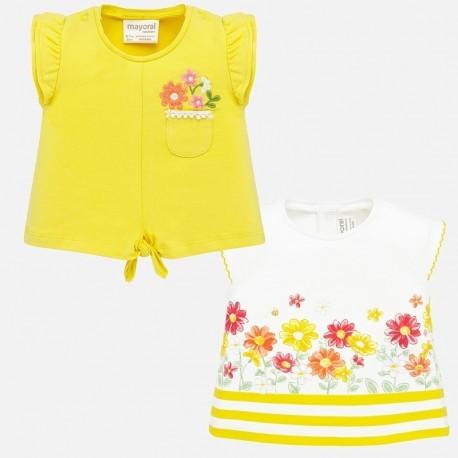 Komplet koszulek bawełnianych dla dziewczynek Mayoral 1033-63 żółta/biała