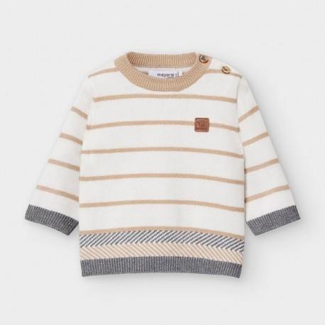 Sweterek w paski chłopięcy Mayoral 2339-50 kremowo/Grafit