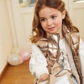 Kamizelka dwustronna dla dziewczynek Mayoral 4352-44 Stare złoto