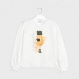 Koszulka z długim rękawem dla dziewczyn Mayoral 7062-30 krem/żółty