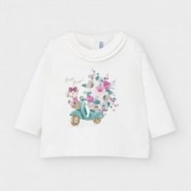 Koszulka z długim rękawem dla dziewczynek Mayoral 2055-29 krem/turkus