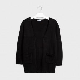 Sweter trykotowy z kieszeniami dla dziewczynki Mayoral 7335-27 Czarny
