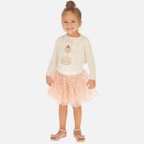 Spódnica tiulowa w kwiatki dziewczęca Mayoral 3901-72 różowa