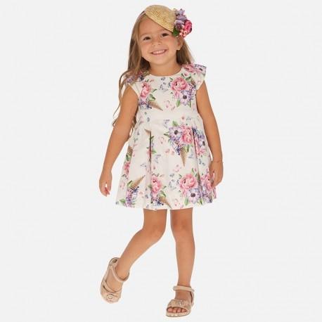 Sukienka w kwiaty dziewczęca Mayoral 3913-64 róż