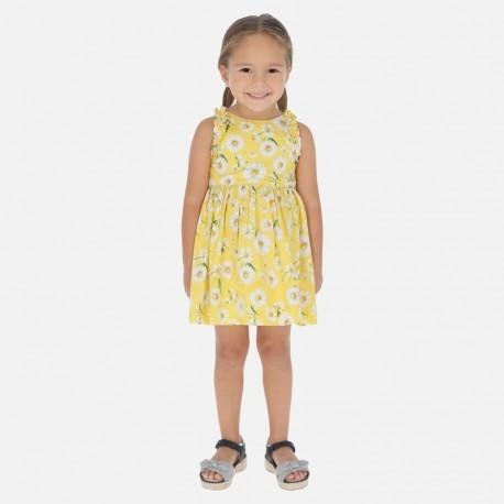 Sukienka popelinowa w kwiaty dla dziewczynek Mayoral 3951-68 żółta