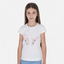 Koszulka z krótkim rękawem dziewczęca Mayoral 6016-47 Kremowy
