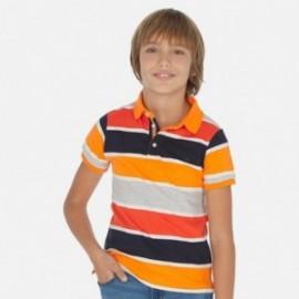 Koszulka polo w paski chłopięca Mayoral 6137-32 Pomarańczowy