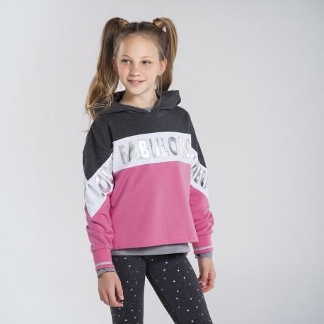 Bluza z kapturem dziewczęca Mayoral 7404-76 róż