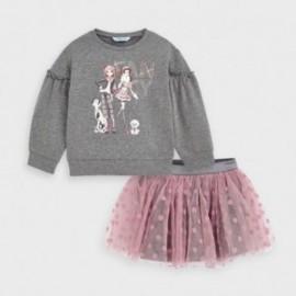 Komplet z tiulową spódnicą dziewczęcy Mayoral 4993-54 Szary/Róż