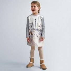 Sukienka z nadrukiem dziewczęca Mayoral 4987-16 Srebrny